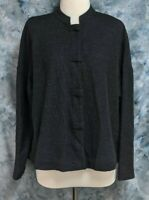 Eileen Fisher Womens XS Gray Wool Oversized Banded Button Boxy Thin Sweater Top