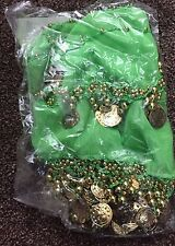 Costume da ballerina 2 Righe Belly Dance Hip Gonna Sciarpa verde con monete d'oro