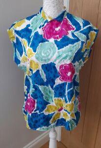 Vintage St Michael Bright Floral Blouse - Size 14 - Pristine Cond