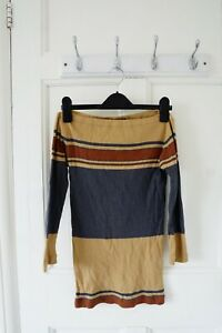 Polo Ralph Lauren Women T Shirt, Brown Striped Boatneck Top, Size S, 100% Cotton