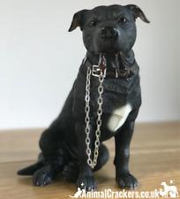Black Staffy Staffie Staffordshire Bull Terrier Leonardo ornament figurine boxed