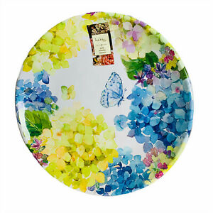 Nicole Miller Hydrangea Floral Butterfly Melamine Dinner Plates Set of 4