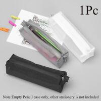 Transparent Student Pen Pencil Case Zip Mesh Portable Pouch Makeup Bag Storage