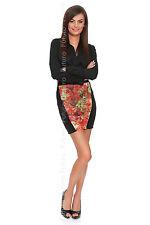 Womens Strech Waist Pencil Mini Skirt With Flower Pattern On Front FZ129
