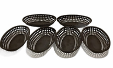 Restaurant Bar Equipment 6 Vintage Made Usa Brown Oval Plastic Baskets Servers