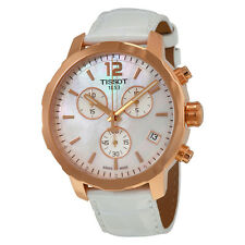Tissot Quickster Chronograph White Mother of Pearl Dial White Leather Ladies