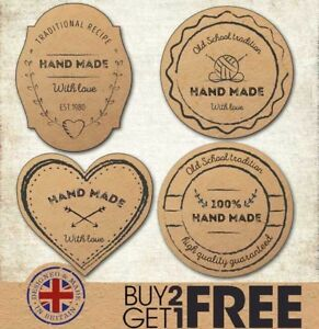 Handmade Craft Handcrafted Kraft Made By Wedding Favour/Sewing/Wool Stickers