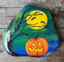 BIG Hand Painted HALLOWEEN TREE BATS  PUMPKIN by Seneca Rock Stone Art GIFT ♡