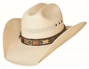 MY WAY 50X Straw Western Rodeo Cowboy Hat Gen. Hairpipe Bone Bullhide Montecarlo
