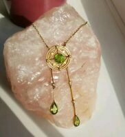 Edwardian Antique 15ct Gold Seed Pearl And Peridot Necklace Pendant