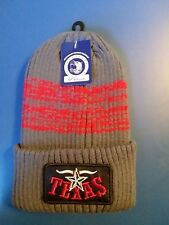 Sportsman Silhouette TEXAS 12 Inch Gray + red Knit Acrylic Beanie Stocking Cap.