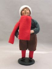 Vintage 1997 Byers Choice Carolers Boy With Classic Red Scarf & Cream Cap Hat