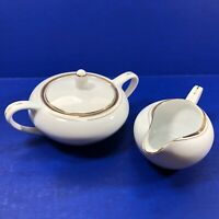 Royalton China Translucent Porcelain Creamer Sugar Bowl With Lid Gold Trim Japan