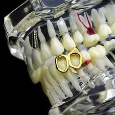 Double Open Fang Grillz Bottom Left 14k Gold Plated Canine 2 Tooth Vampire Fang