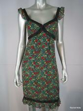 ANNA SUI Dress 4 S Silk Red Green Black Floral Lace Cap Sleeve Ruffle $395 NEW