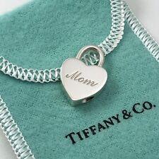 Tiffany & Co Sterling Silver MOM Heart Padlock Lock Charm Pendant
