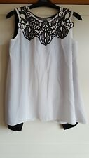 BNWT Lipsy Embroidered Lace Detail Chiffon Blouse Top UK10 RRP £38