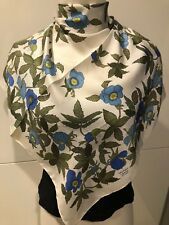 Liberty Of London White with Blue Flowers Scarf 59cm x 58cm Silk Twill, Vintage