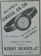 PUBLICITE OMEGA MONTRE BRACELET EN OR EXTENSIBLE DE 1909 FRENCH AD PUB RARE