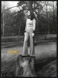 pretty long haired girl in flares, Vintage Photograph, 1970'