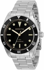RARE NEW INVICTA 1953 PRO DIVER MEN'S NH35 AUTOMATIC 40MM BLACK DIAL SS WATCH