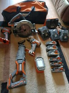 Ridgid Gen 5X 18v Tool Combo Set With Charger And 6 Batteries