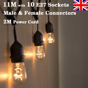 Vintage Plug In Electric Hanging Socket 11M Outdoor Garden String Lights Wedding