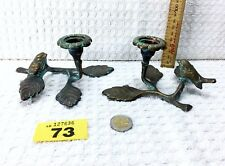 Pair of candlesticks with bird .Vintage style ,brass.