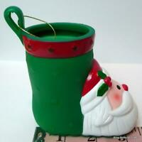 Santa Claus Green Boot hanging ornament