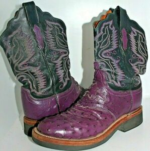 WOMENS LUCCHESE 2000 PURPLE OSTRICH SKIN FULL QUILL COWBOY BOOTS SIZE 9 B