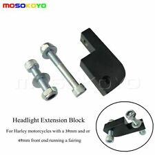 Motorcycles 39 / 49mm Headlight Extension Block Bracket + Screw For Harley Black