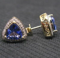 2.10Ct Trillion Cut Tanzanite & Diamond Solid Earrings 14k Yellow Gold Finish