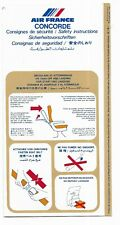Concorde Air France Safety Card March issued 11 / 1989 RARE November 1989