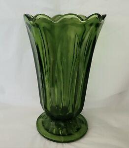 "Anchor Hocking ""Fairfield"" Footed Vase Avocado Green Scalloped Rim 8 3/8"" Tall"