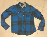 VOLCOM Mens Tailored Embroidered Logo Blue Plaid Flannel Shirt Long Sleeve Sz M