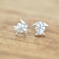 Turtle Earrings Origami Textured Metal SILVER Alloy Surf Jewelry Christmas Gift