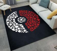 Abstract Pokemon Ball Living Room Floor Mat Anti-skid Area Rug Soft Yoga Carpet