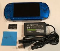 VIBRANT BLUE PSP 3000 System w/ Charger & Memory Card Bundle TESTED WORKS Import