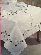 """66"""" x 118"""" OBLONG HAND EMBROIDERED  FLORAL PATTERN  TABLECLOTH W/NAPKINS"""