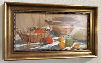 Original Oil Painting Kirby Waite California Listed Artist Vintage Fruit Bowl