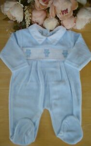 Spanish Style Velour Baby Boy Blue Smocked Embroidered All in One Romper 0-3-6m