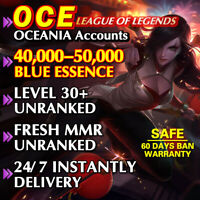 OCE 40K League of Legends Account LOL Level 30 Unranked 40.000 - 50.000 BE Smurf