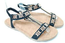 Women's BLACK Flat Brass Pendant Gold Rhinestone Ankle Sandals Party Dress Shoes