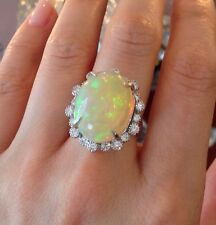 Large 13 ct Opal & Diamond Ring in Platinum - HM1414