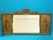 ELABORATE REGENCY LAUREL GILT with URNS TRIPTYCH MULTI PANEL OVERMANTLE MIRROR