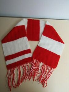 Sunderland FC Style Hand Knit Red White Striped Football Supporter Gift Scarf