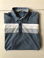 Travis Mathew Large Golf Shirt Mens Polo Teal/Gray