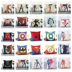 """18""""Superhero Cushion Cover Sofa Throw Pillow Case Cotton Linen Home Bed Decor UK"""
