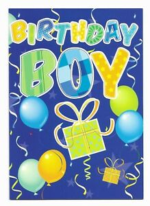 Happy Birthday Boy Blue Fun Greetings Card For Him/Kids/Friend by Cards For You