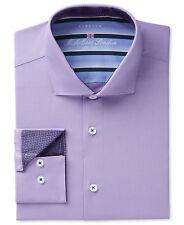 NWT $278 MICHELSONS LONDON Men SLIM-FIT STRETCH PURPLE LONG-SLEEVE DRESS SHIRT L